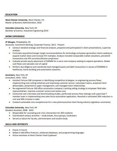 investment banking corporate finance resume