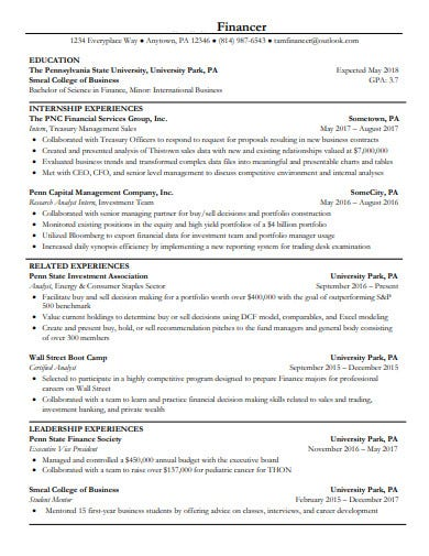 investment banking financer resume