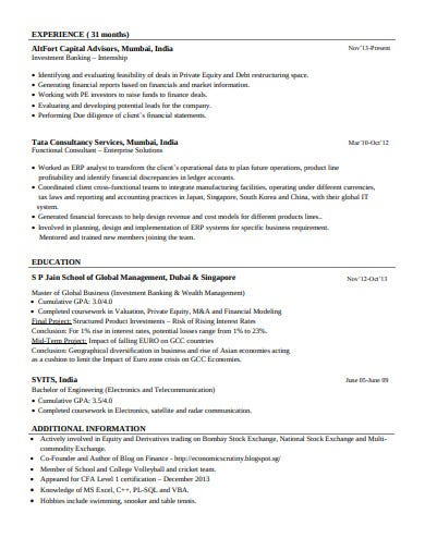investment banking internship resume
