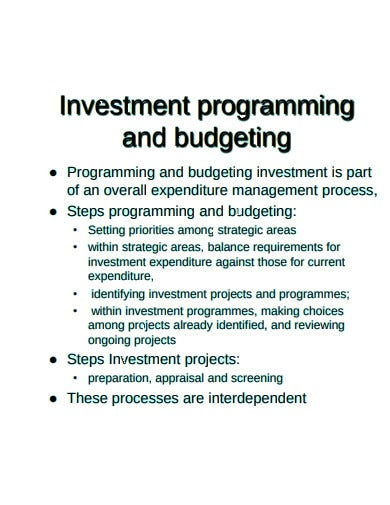 investment budgeting template