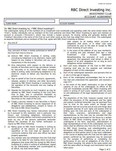 investment club account agreement template