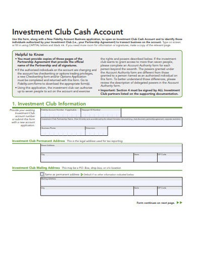 investment club cash account template