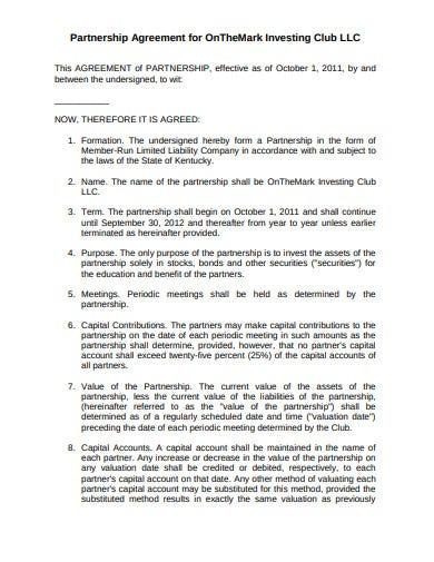 investment club partnership agreement template