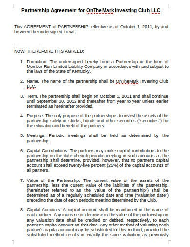 investment club partnership agreement in doc