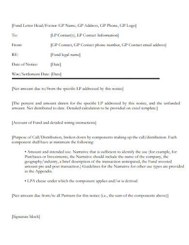 investment commitment notice cover letter
