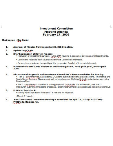investment committee agenda example