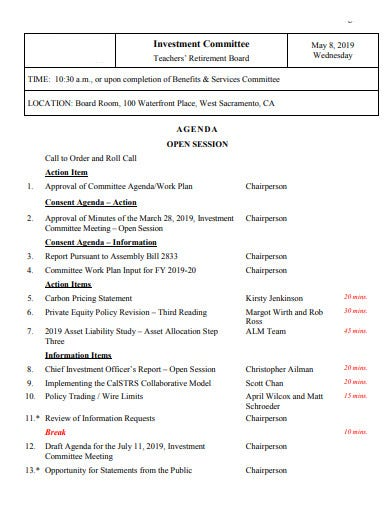 investment committee agenda
