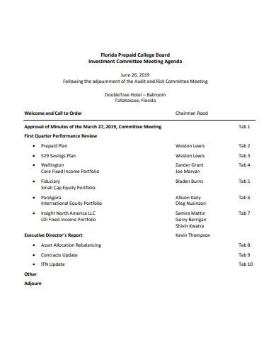 investment committee meeting agenda