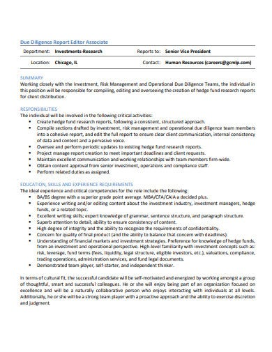investment due diligence report editor associate