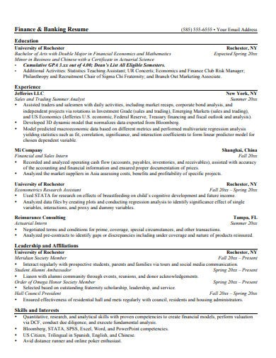 investment finance banking resume