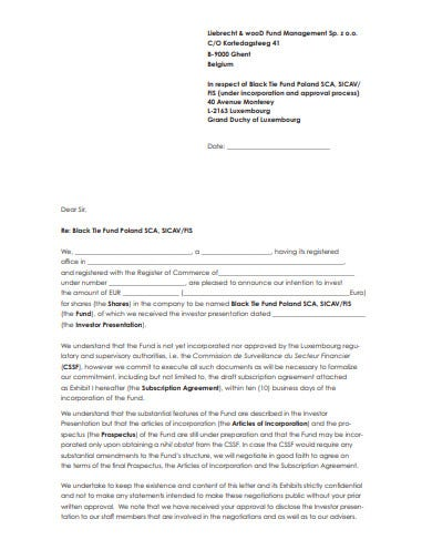 investment fund commitment letter