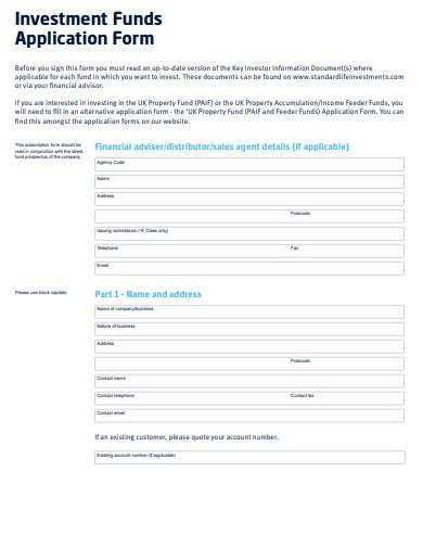 investment funds application form