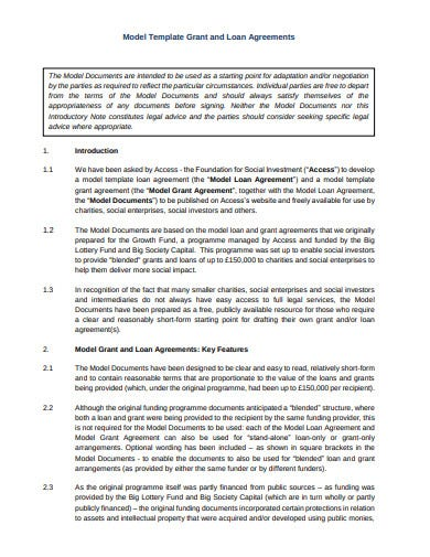 investment grant loan agreement template