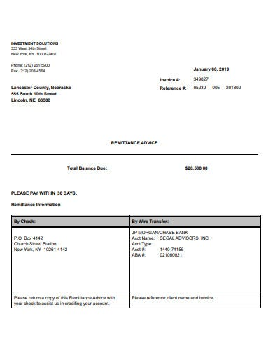 investment invoice template