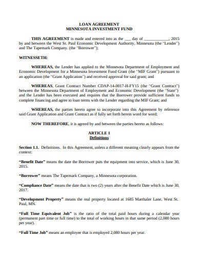 investment loan agreement fund template