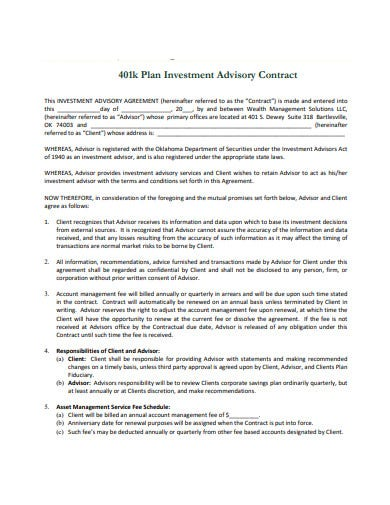 investment plan advisory contract