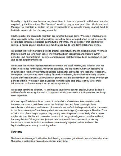 investment policy statement for nonprofits format