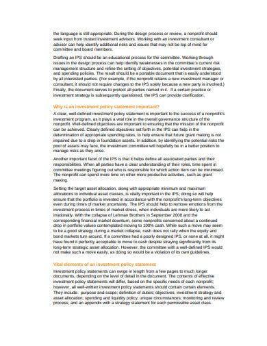 investment policy statement for nonprofits template