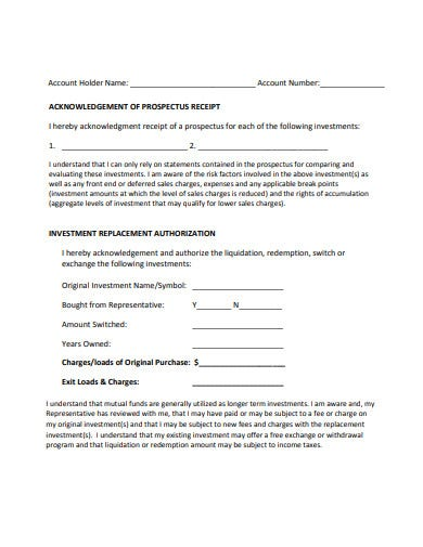 investment receipt replacement form template
