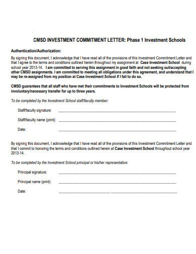 investment school commitment letter