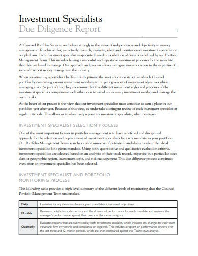 investment specialists due diligence report