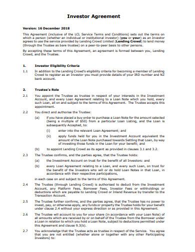 investor loan agreement format