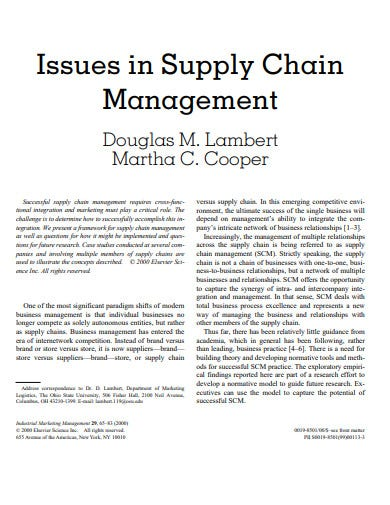issue supply chain management template