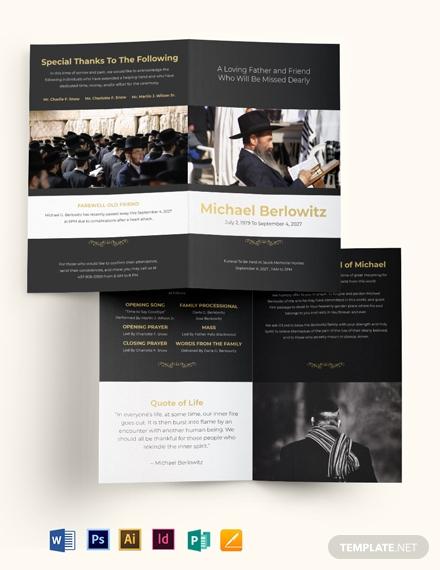 jewish eulogy funeral bi fold brochure 1