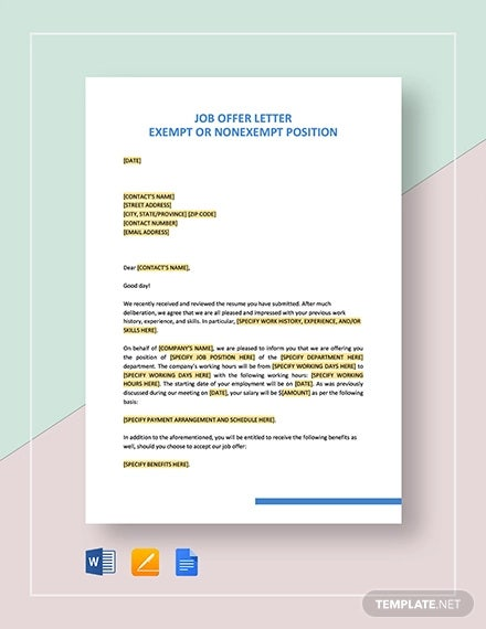 job offer letter exempt or nonexempt position template