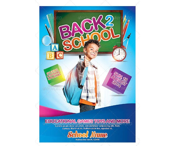 kids back to school poster template