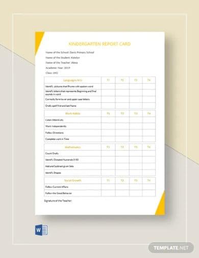 kindergarten report card template1