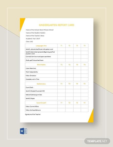 kindergarten report card1