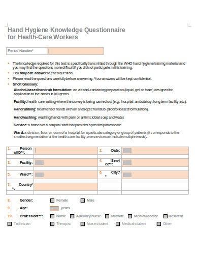 knowledge questionnaire for health care workers