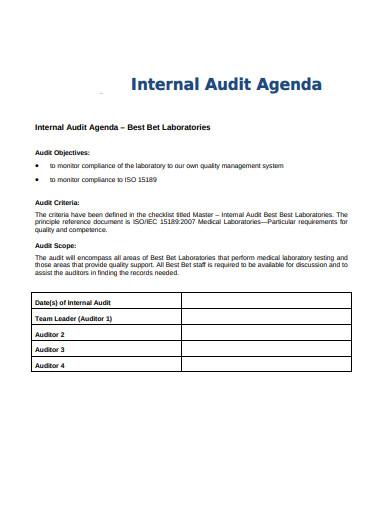 laboratories internal audit agenda