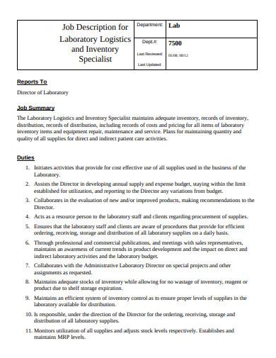 10  logistics job description templates in pdf