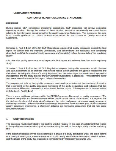 laboratory quality assurance statement template