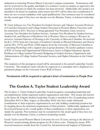 leadership award ceremony program
