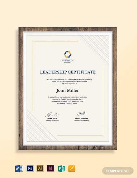 leadership award certificate template 4
