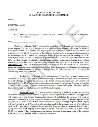 letter of intent direct investment template