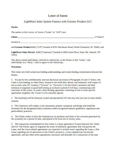 letter of intent finance investment template