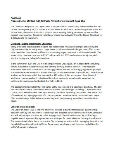 letter of intent investment factsheet proposal