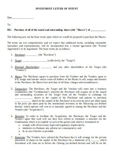 letter of intent investment format