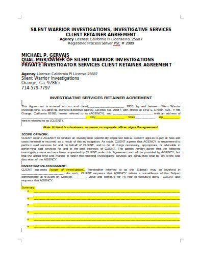 license agency retainer agreement