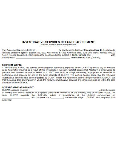 license detective agency retainer agreement