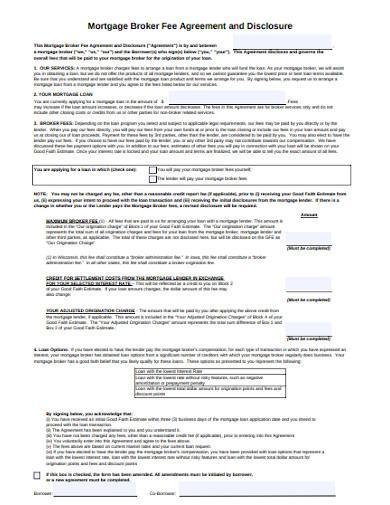 licensed mortgage broker fee agreement