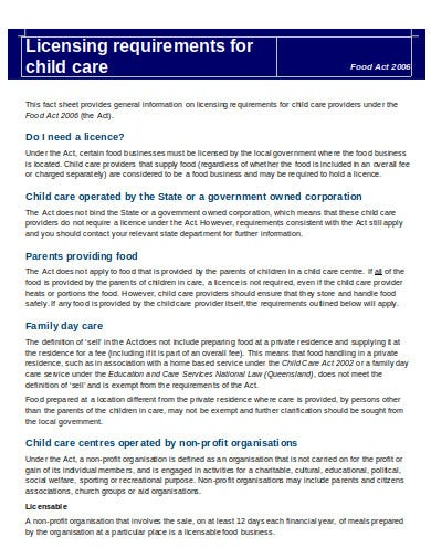 licensing requirements for child care fact sheet