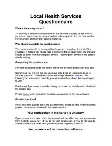 local health service questionnaire