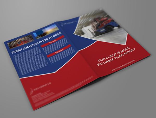 logistic company brochure bi fold template