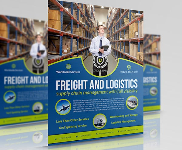 logistic services flyer template