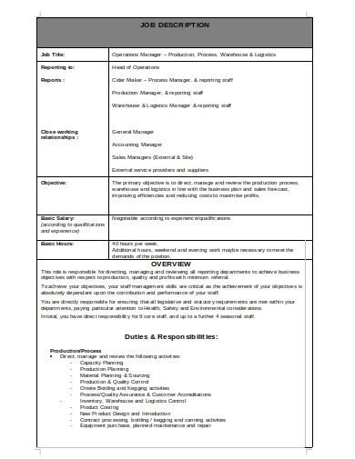 logistics accounting manager job description